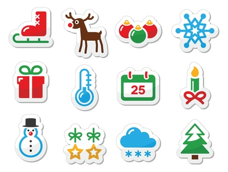 christmas eve: Christmas winter black icons set as labels