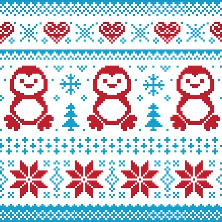 nordic: Christmas and Winter knitted pattern, card - scandynavian sweater style Illustration