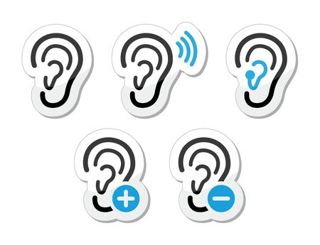 listening to people: Ear hearing aid deaf problem icons set as labels
