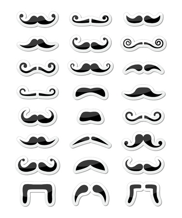 black head and moustache: Moustache   mustache icons isolated set as labels Illustration