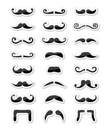 Moustache Schnurrbart icons isoliert als Etiketten gesetzt