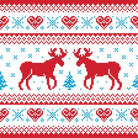Christmas and Winter knitted pattern, card - scandynavian sweater style Vector