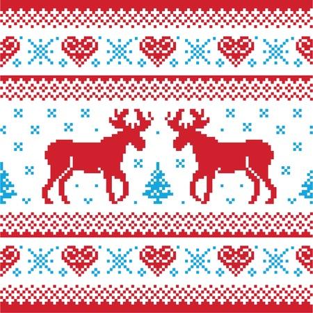 sueter: Navidad y de invierno de punto patrón, tarjeta - estilo suéter scandynavian