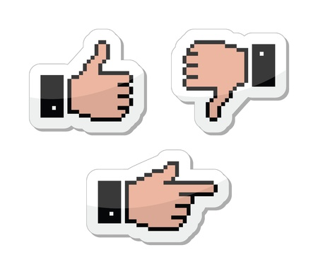 like it: Pixel cursor icons - thumb up, like it, pointing hand Illustration