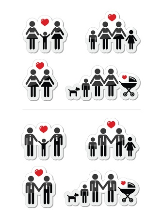 Gay, lesbian couples and family with children icons set Vector