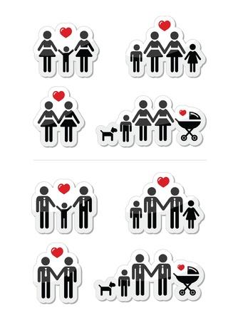 boda gay: Las parejas gays, lesbianas y familiares con los iconos de los niños establecer