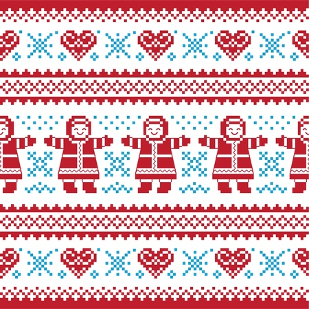 Christmas, Winter knitted pattern, card - scandynavian sweater style Vector