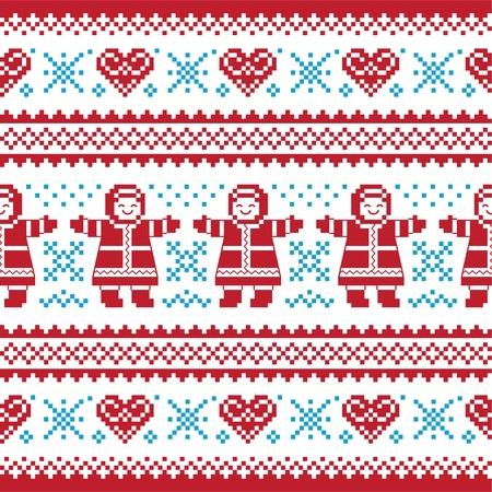 Weihnachten, gestrickte Winter-Muster, card - scandynavian Pullover Stil Vektorgrafik