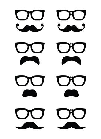 fashion bril: Geek bril en snor of snor vector iconen Stock Illustratie