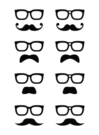 black head and moustache: Geek glasses and moustache or mustache vector icons