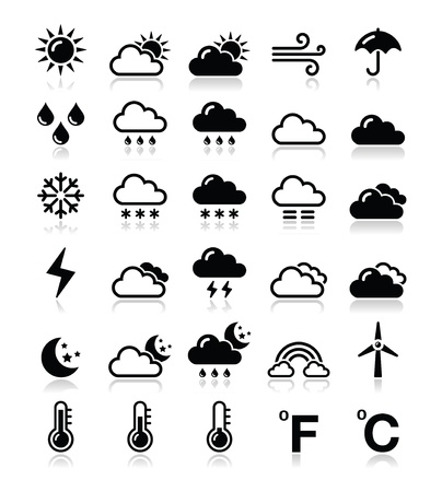moon night: Weather icons set - vector