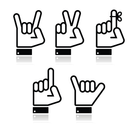 Hand vector gestures, signals and signs - victory, rock, point Vector