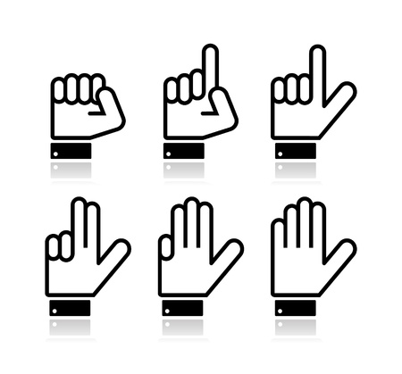 three hands: Counting hand signs - vector isolated on white