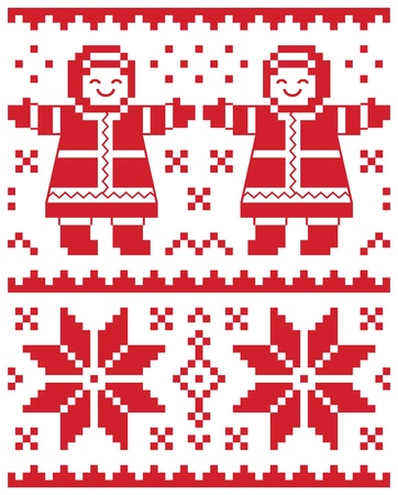 scandinavian people: Christmas vector card - traditional knitted pattern illustration