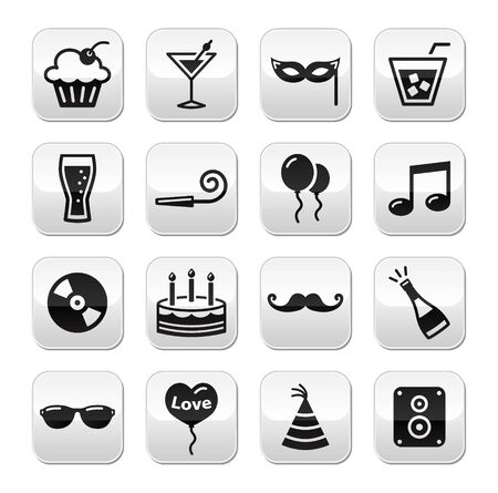 Party, birthday, New Year s, Christmas buttons set Stock Vector - 16398338