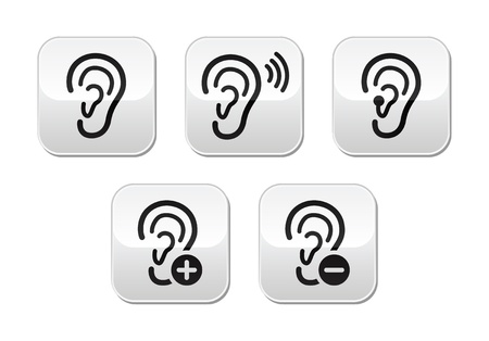 audible: Ear hearing aid deaf problem buttons set