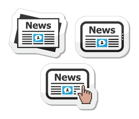 newspaper articles: Newpaper, news on tablet icons set as labels Illustration