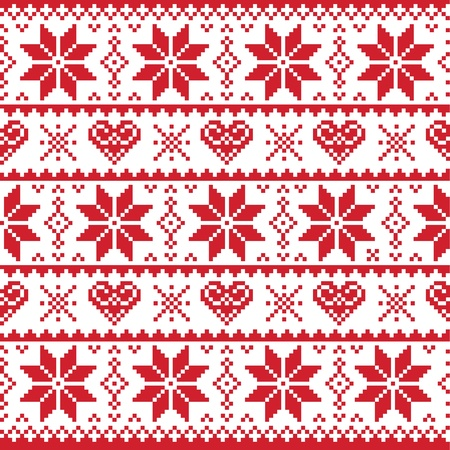 Christmas knitted pattern, card - scandynavian sweater style Vector
