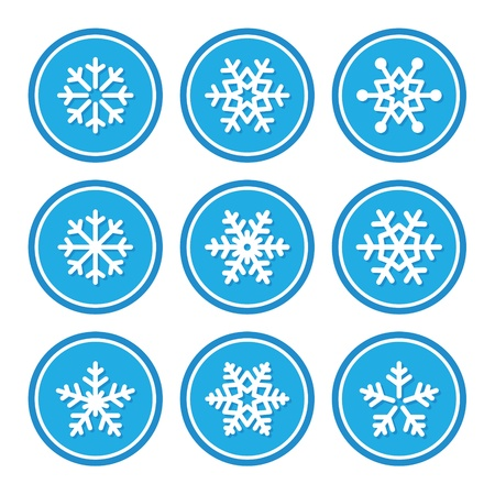 snow crystals: Snowflakes icons as retro labels