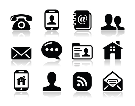 contact person: Contact black icons set - mobile, user, email, smartphone Illustration
