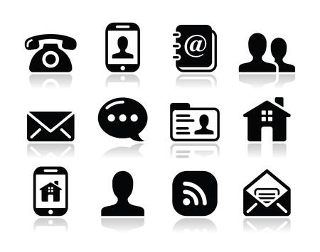 contact icon: Contact opnemen met zwarte pictogrammen set - mobiel, gebruiker, e-mail, smartphone Stock Illustratie