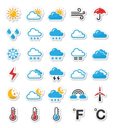 thermometers: Weather icons set as labels
