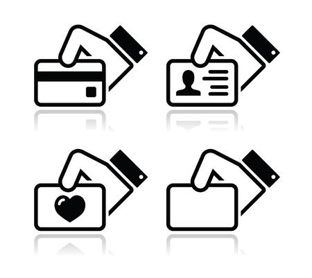 hand business card: Carta di credito Mano, biglietto da visita, le icone Set ID