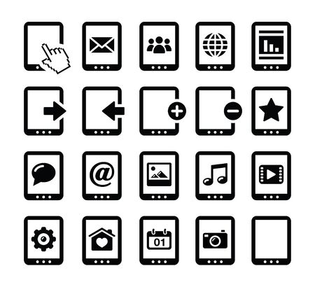 Tablet balck icons set with reflections Stock Vector - 16520712