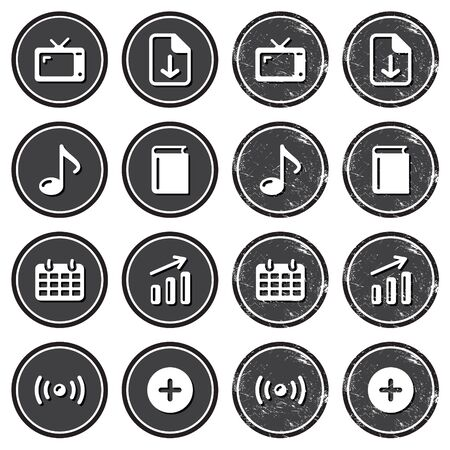 Website navigation icons on retro labels set Vector