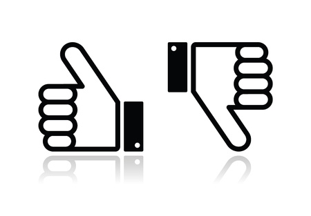 Thumb up and down black icon - social media Vector