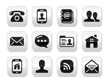 email us: Contatta nero set pulsanti - mobile, telefono, email, busta