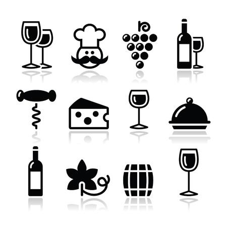 Wijn pictogrammen set - glas, fles, restaurant, eten Vector Illustratie
