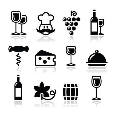 cheese: Wine icons set - glass, bottle, restaurant, food