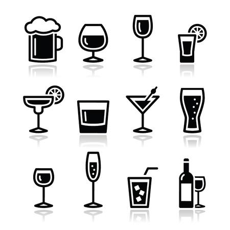 tomando alcohol: Beber bebidas alcohólicas iconos establecido