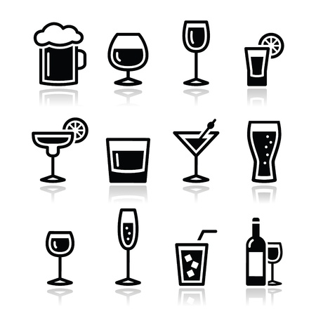 drinking: Drink alcohol beverage icons set