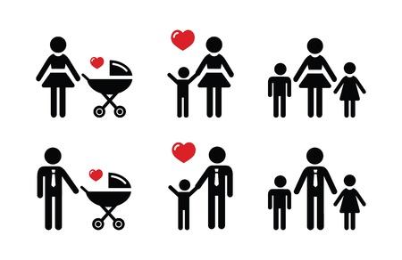 Alleenstaande ouder teken - gezin iconen Vector Illustratie