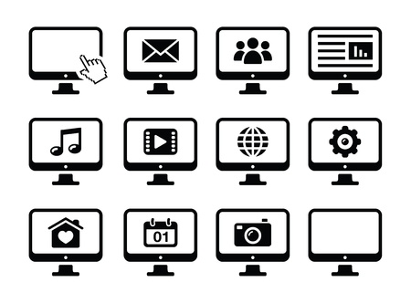 Computer screen black icons set Stock Vector - 16611797