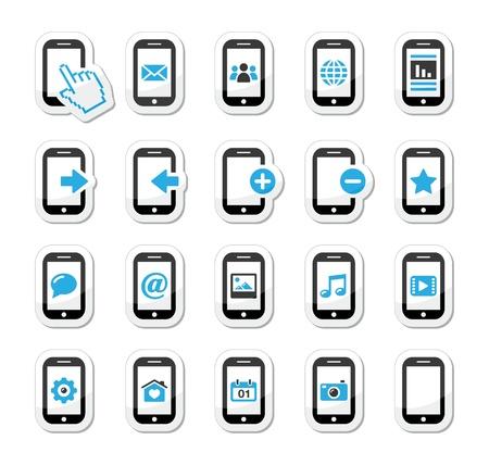 settings: Smartphone mobiele of mobiele telefoon icons set Stock Illustratie