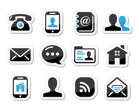 contact icon: Contact icons set als labels - mobiel, gebruiker, e-mail, smartphone Stock Illustratie