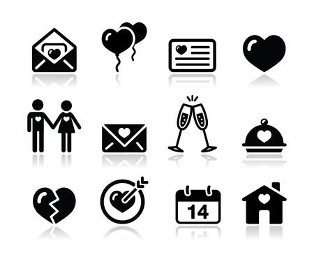 corazon roto: El amor de San Valentín negro conjunto de iconos