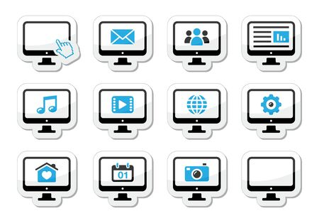 computer screen: Computer screen icons set as labels Illustration