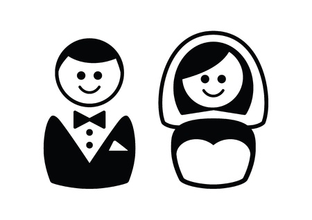 bride groom: Married couple icons - groom and bride