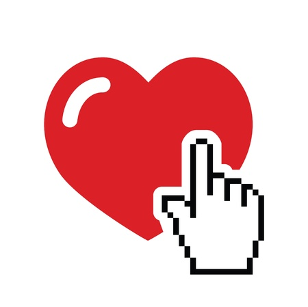 internet symbol: Heart with cursor hand icon - velntines, love, online dating concept