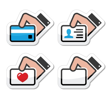 id card: Hand holding credit card, business card, ID icons set as labels Illustration