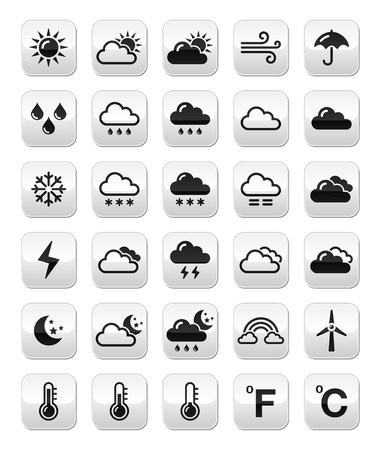 Weather forecast buttons set Stock Vector - 16755345