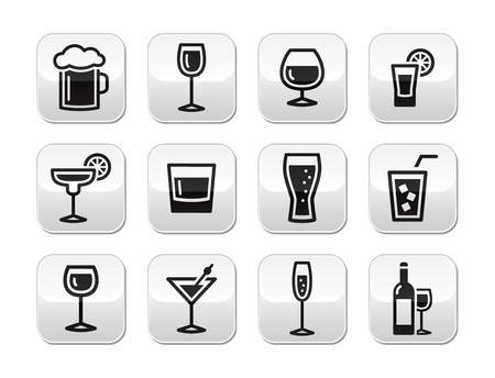 whie wine: Drink alcohol beverage vector buttons set