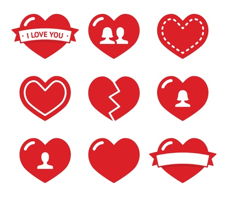 broken relationship: Love hearts icons set for Valentines Day