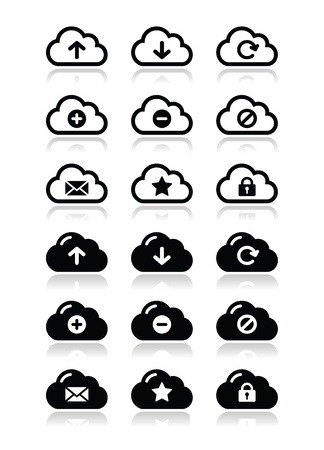 Cloud vector icons set for web Stock Vector - 16807401