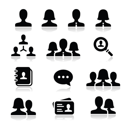 Man woman user vector icons set Vector