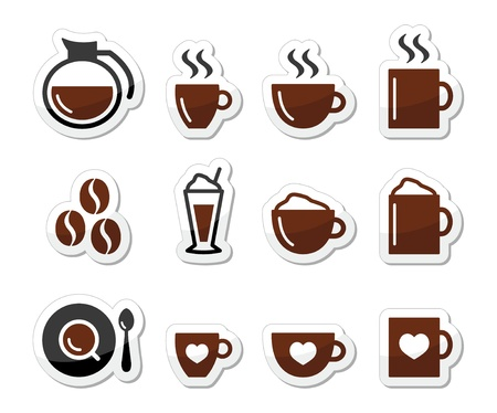 coffee pot: Coffee icons on labels set